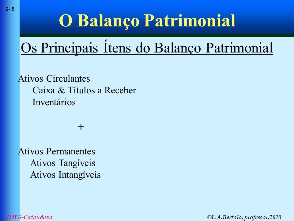 Os Principais Ítens do Balanço Patrimonial