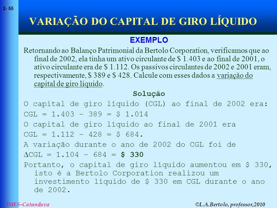 VARIAÇÃO DO CAPITAL DE GIRO LÍQUIDO