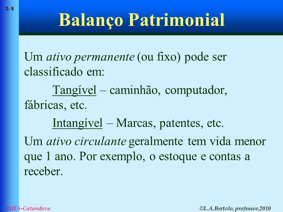 Balanço Patrimonial Um ativo permanente (ou fixo) pode ser classificado em: Tangível – caminhão, computador, fábricas, etc.