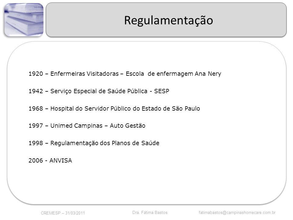 Regulamentação 1920 – Enfermeiras Visitadoras – Escola de enfermagem Ana Nery. 1942 – Serviço Especial de Saúde Pública - SESP.