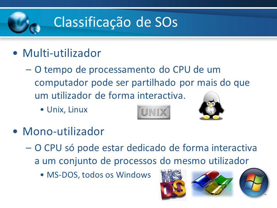 Classificação de SOs Multi-utilizador Mono-utilizador