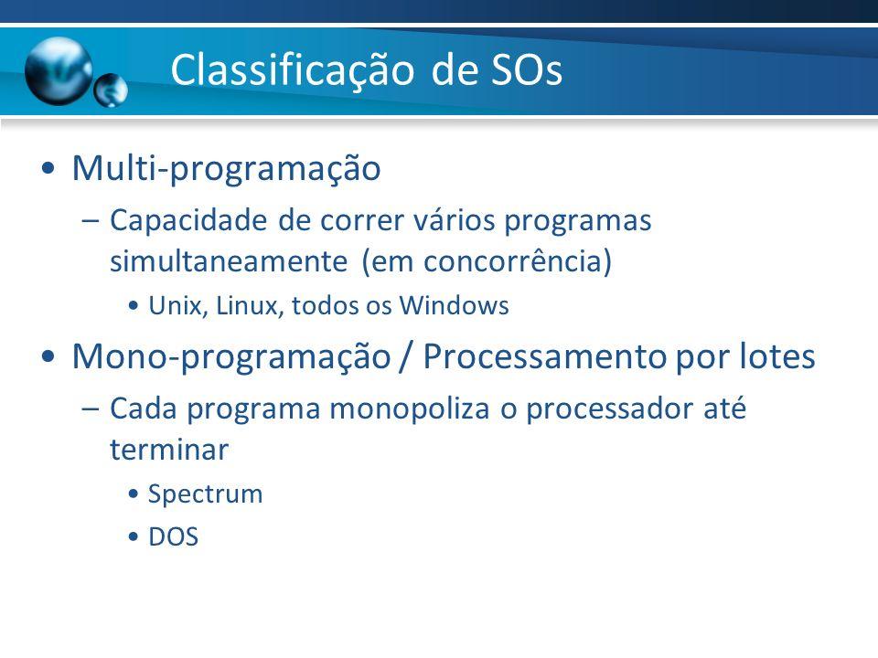 Classificação de SOs Multi-programação