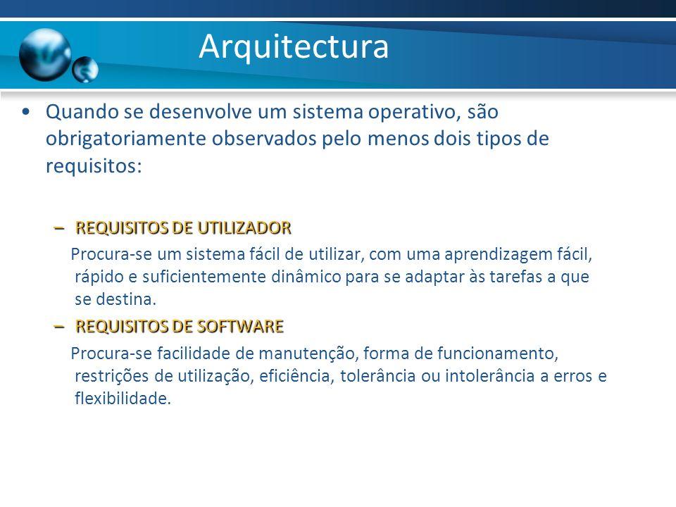 Arquitectura Quando se desenvolve um sistema operativo, são obrigatoriamente observados pelo menos dois tipos de requisitos: