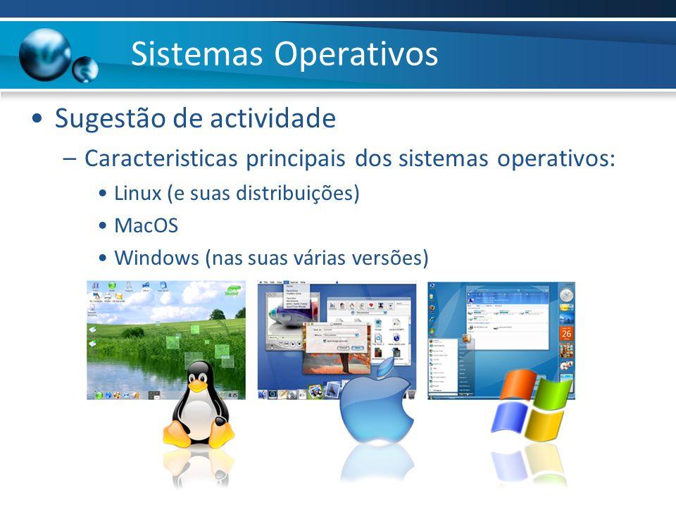 Sistemas Operativos Sugestão de actividade