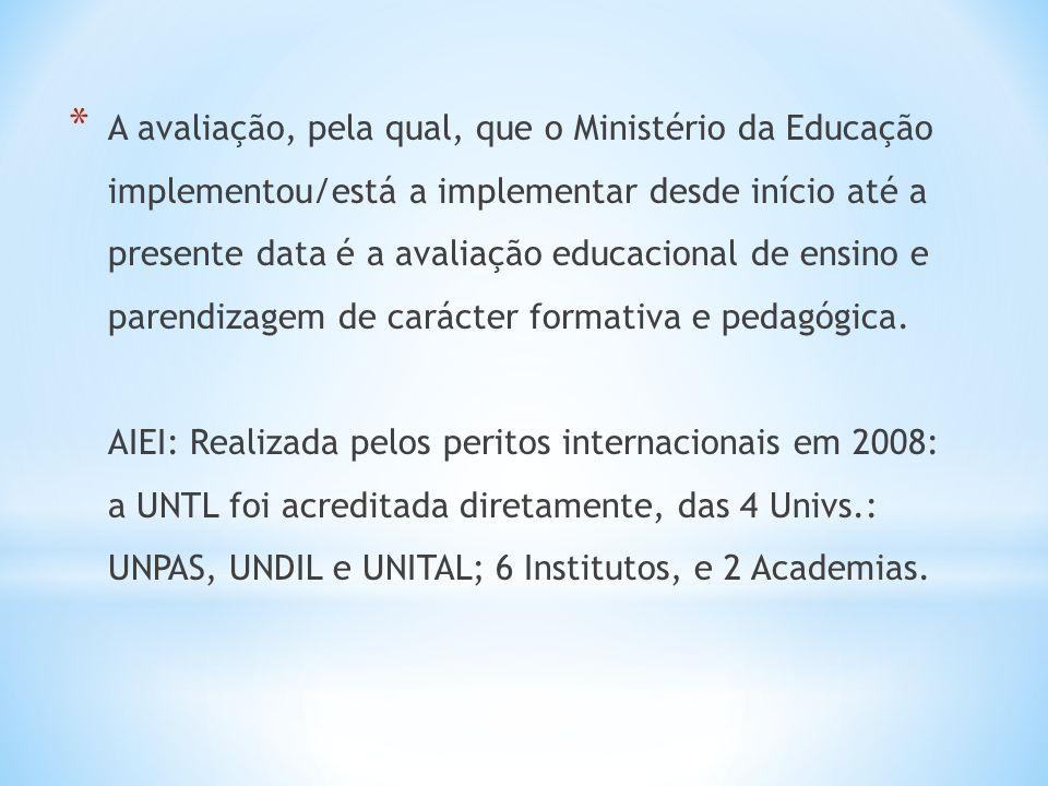A avaliação, pela qual, que o Ministério da Educação implementou/está a implementar desde início até a presente data é a avaliação educacional de ensino e parendizagem de carácter formativa e pedagógica.