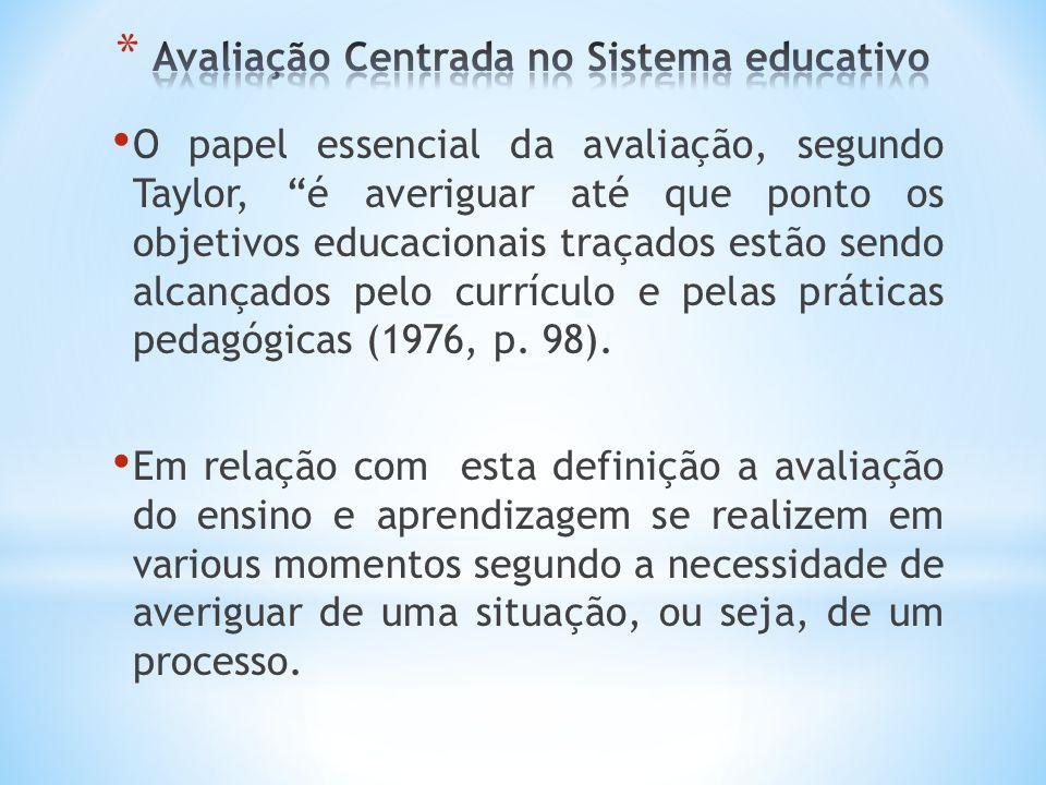 Avaliação Centrada no Sistema educativo