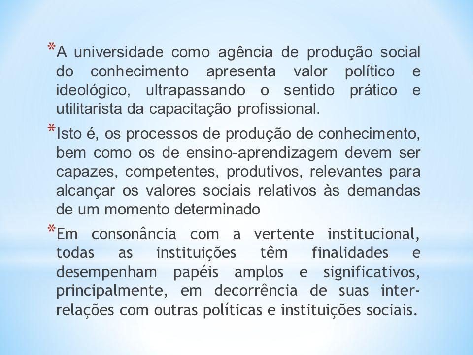 A universidade como agência de produção social do conhecimento apresenta valor político e ideológico, ultrapassando o sentido prático e utilitarista da capacitação profissional.