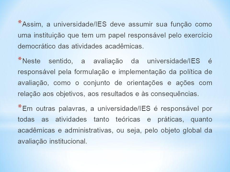 Assim, a universidade/IES deve assumir sua função como uma instituição que tem um papel responsável pelo exercício democrático das atividades acadêmicas.