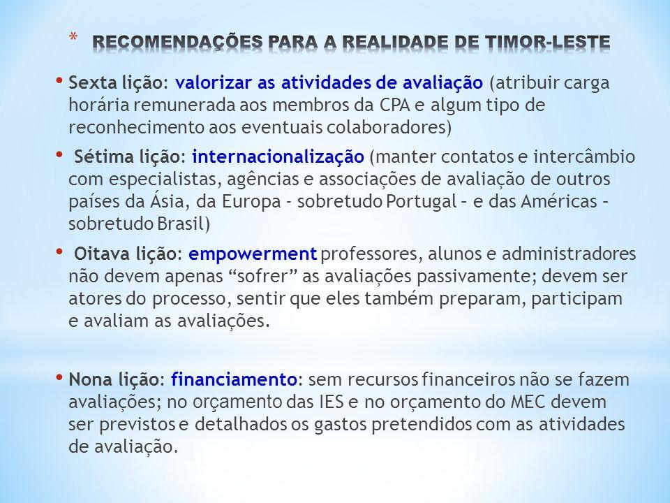 RECOMENDAÇÕES PARA A REALIDADE DE TIMOR-LESTE