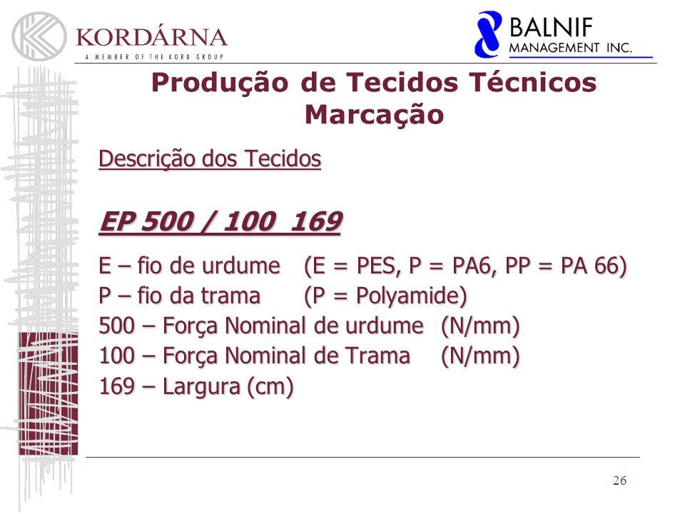 Produção de Tecidos Técnicos Marcação