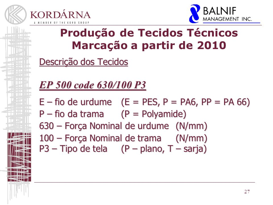Produção de Tecidos Técnicos Marcação a partir de 2010