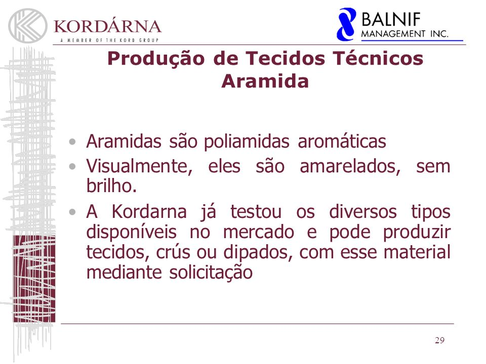 Produção de Tecidos Técnicos Aramida
