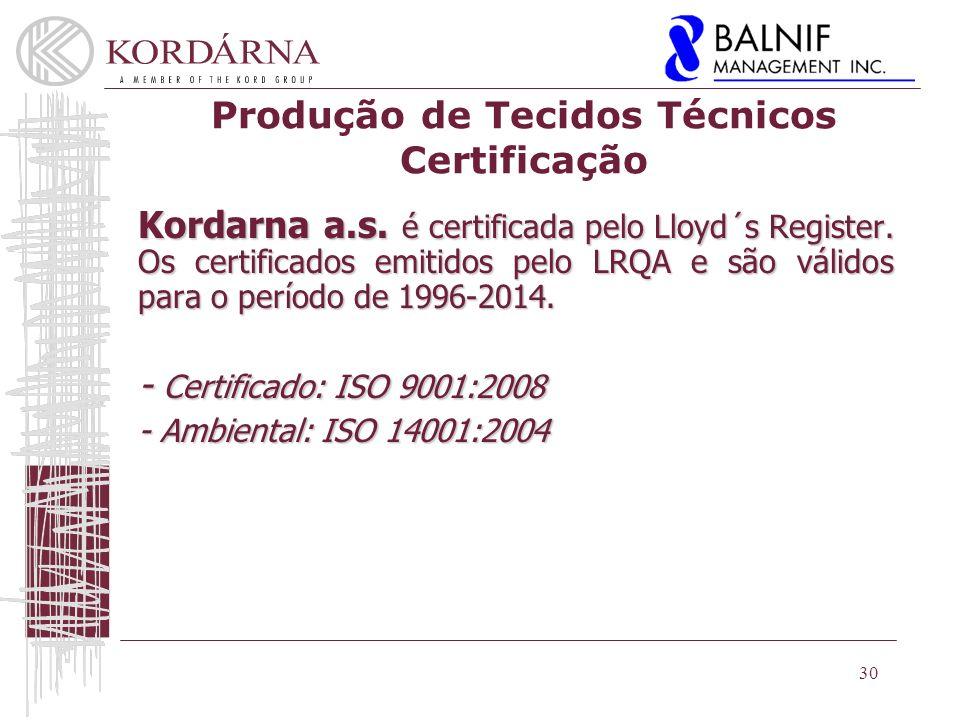 Produção de Tecidos Técnicos Certificação