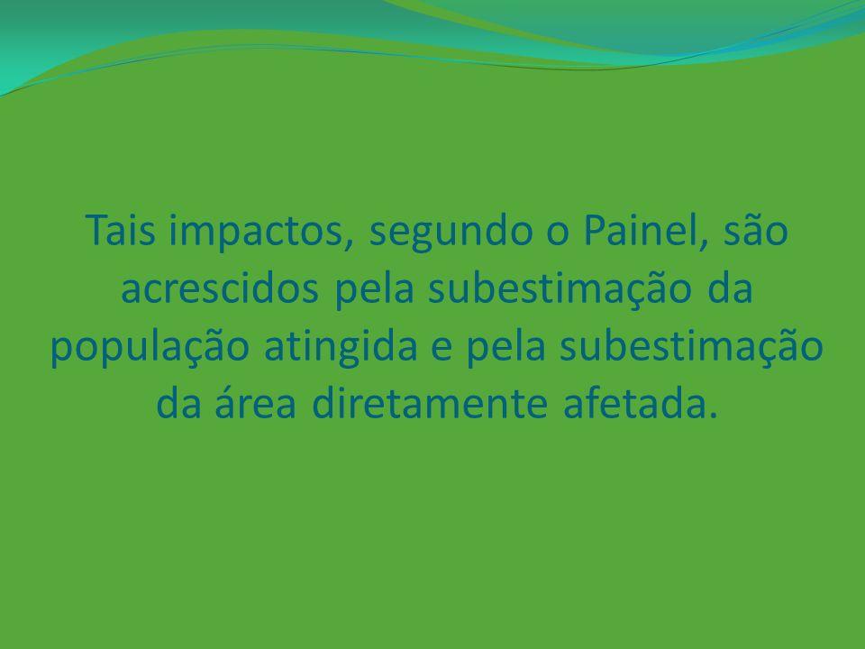 Tais impactos, segundo o Painel, são acrescidos pela subestimação da população atingida e pela subestimação da área diretamente afetada.