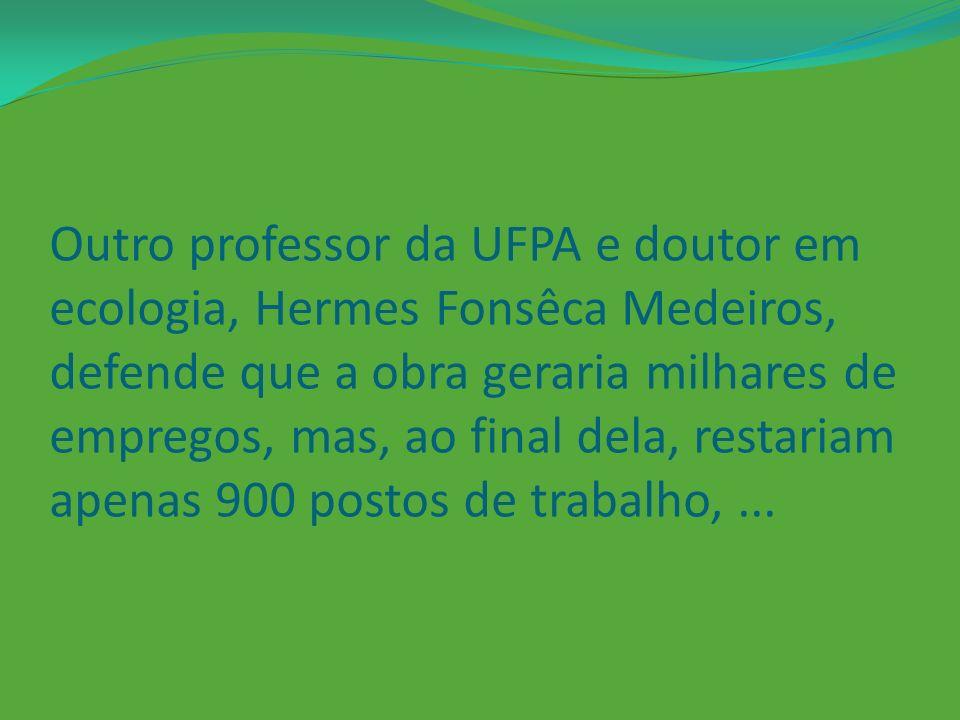 Outro professor da UFPA e doutor em ecologia, Hermes Fonsêca Medeiros, defende que a obra geraria milhares de empregos, mas, ao final dela, restariam apenas 900 postos de trabalho, ...