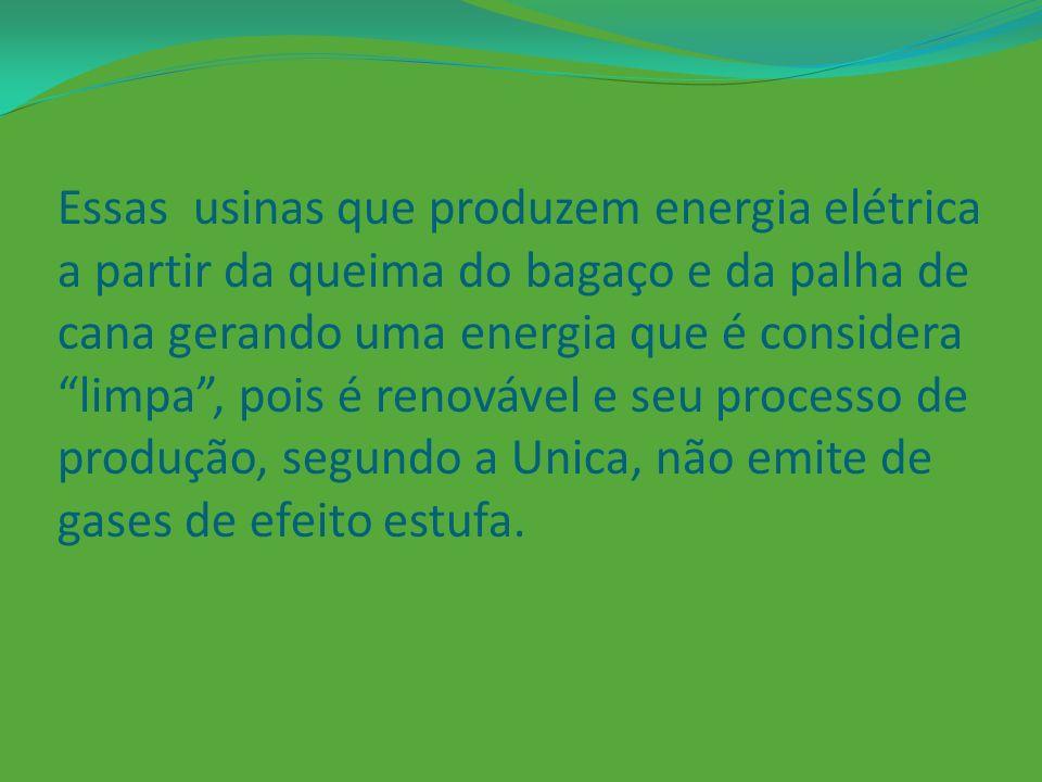 Essas usinas que produzem energia elétrica a partir da queima do bagaço e da palha de cana gerando uma energia que é considera limpa , pois é renovável e seu processo de produção, segundo a Unica, não emite de gases de efeito estufa.
