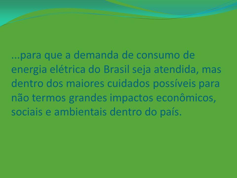 ...para que a demanda de consumo de energia elétrica do Brasil seja atendida, mas dentro dos maiores cuidados possíveis para não termos grandes impactos econômicos, sociais e ambientais dentro do país.