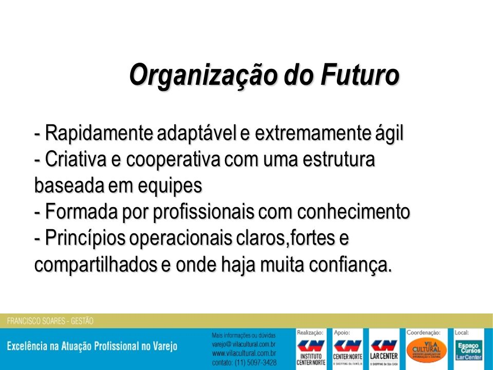 Organização do Futuro - Rapidamente adaptável e extremamente ágil