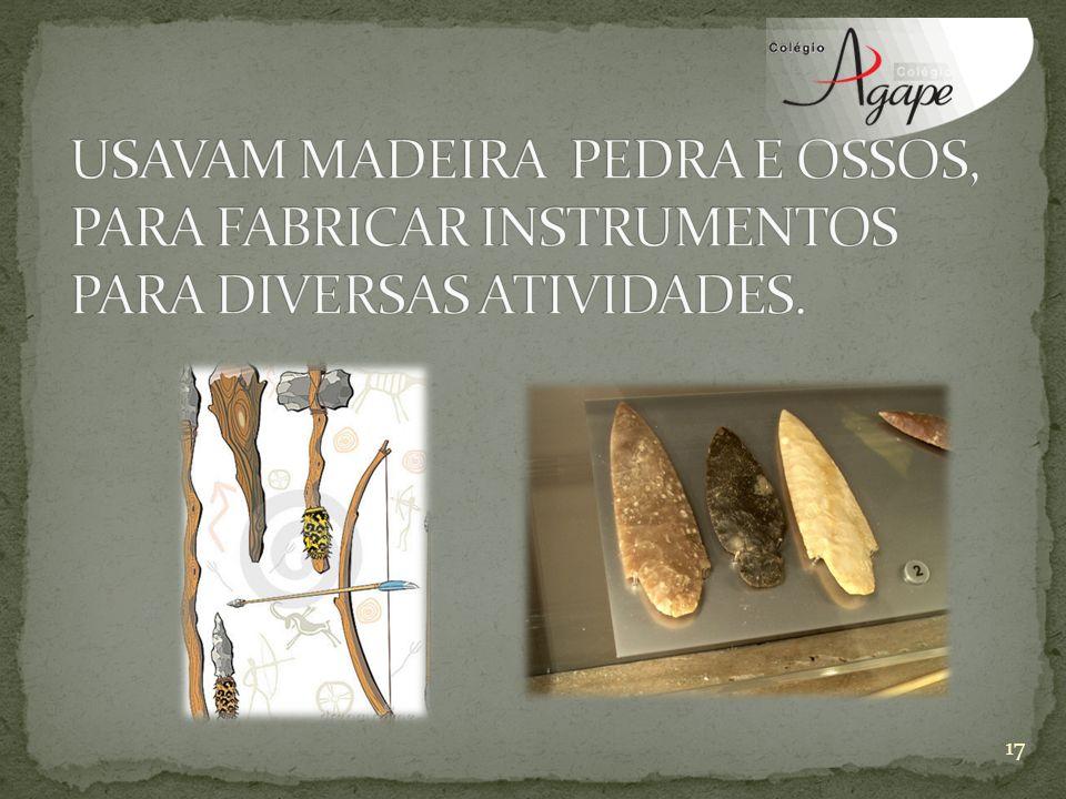 USAVAM MADEIRA PEDRA E OSSOS, PARA FABRICAR INSTRUMENTOS PARA DIVERSAS ATIVIDADES.