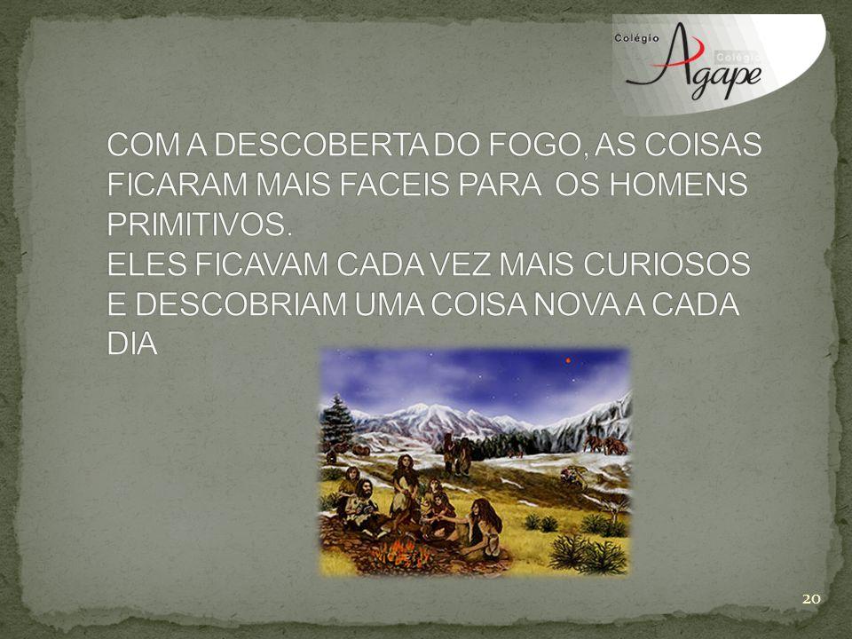 COM A DESCOBERTA DO FOGO, AS COISAS FICARAM MAIS FACEIS PARA OS HOMENS PRIMITIVOS.