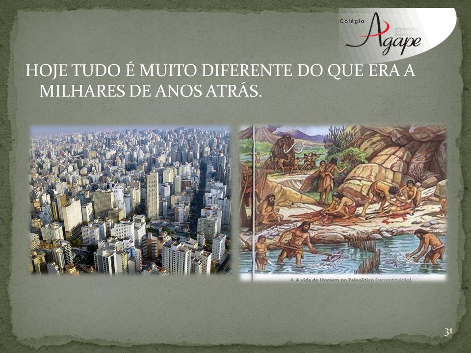 HOJE TUDO É MUITO DIFERENTE DO QUE ERA A MILHARES DE ANOS ATRÁS.