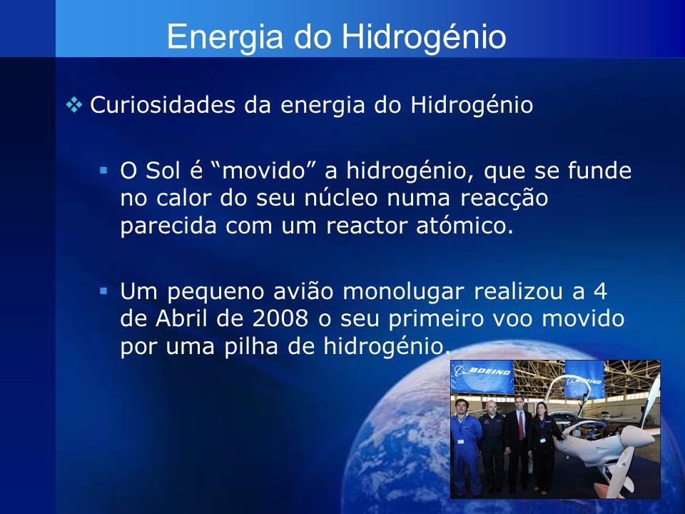 Energia do Hidrogénio Curiosidades da energia do Hidrogénio