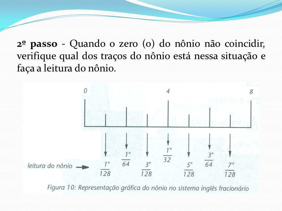2º passo - Quando o zero (0) do nônio não coincidir, verifique qual dos traços do nônio está nessa situação e faça a leitura do nônio.