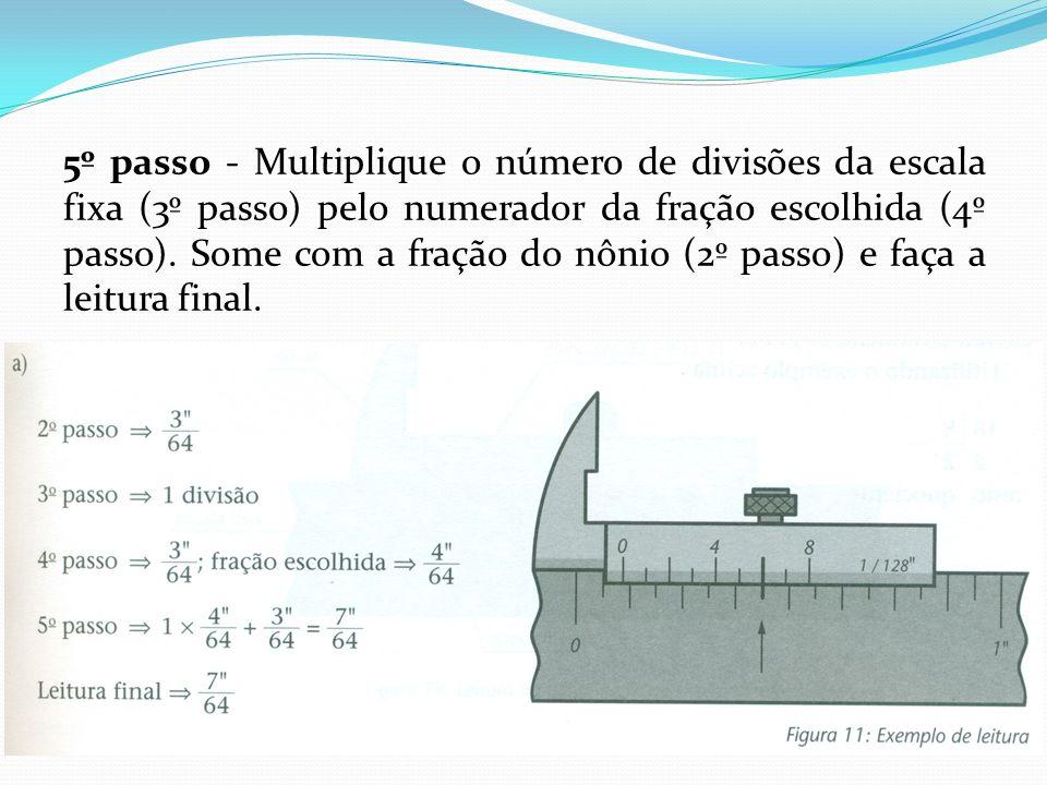 5º passo - Multiplique o número de divisões da escala fixa (3º passo) pelo numerador da fração escolhida (4º passo).