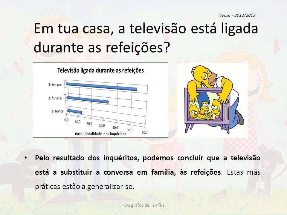 Em tua casa, a televisão está ligada durante as refeições