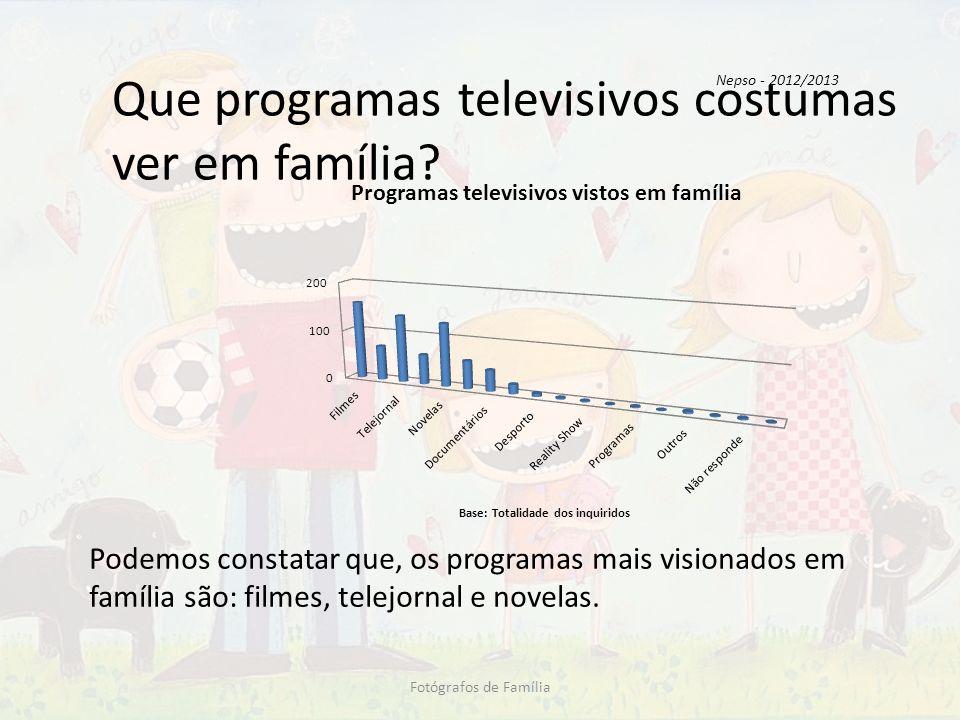 Que programas televisivos costumas ver em família