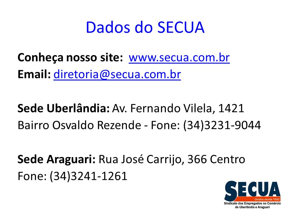 Dados do SECUA