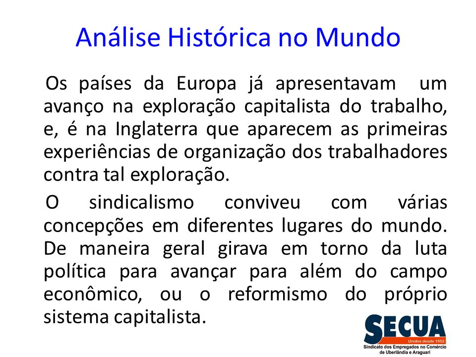 Análise Histórica no Mundo