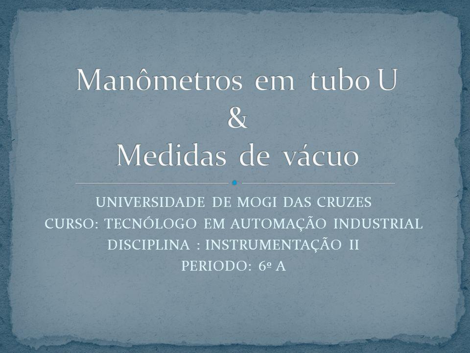 Manômetros em tubo U & Medidas de vácuo