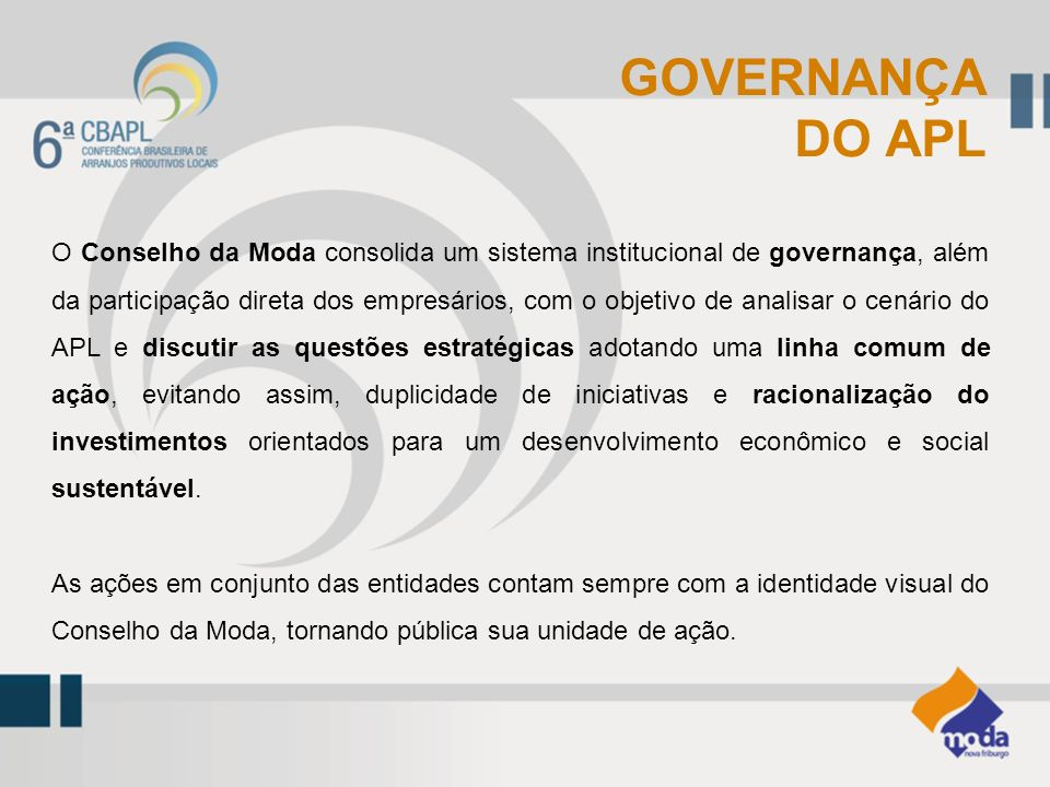 GOVERNANÇA DO APL