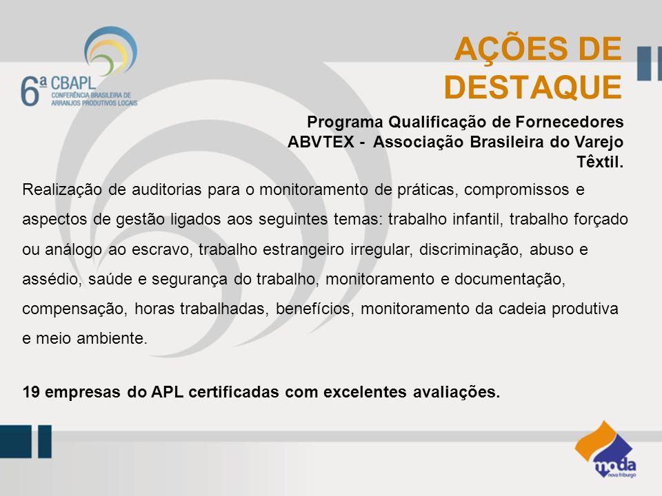 AÇÕES DE DESTAQUE. Programa Qualificação de Fornecedores ABVTEX - Associação Brasileira do Varejo Têxtil.