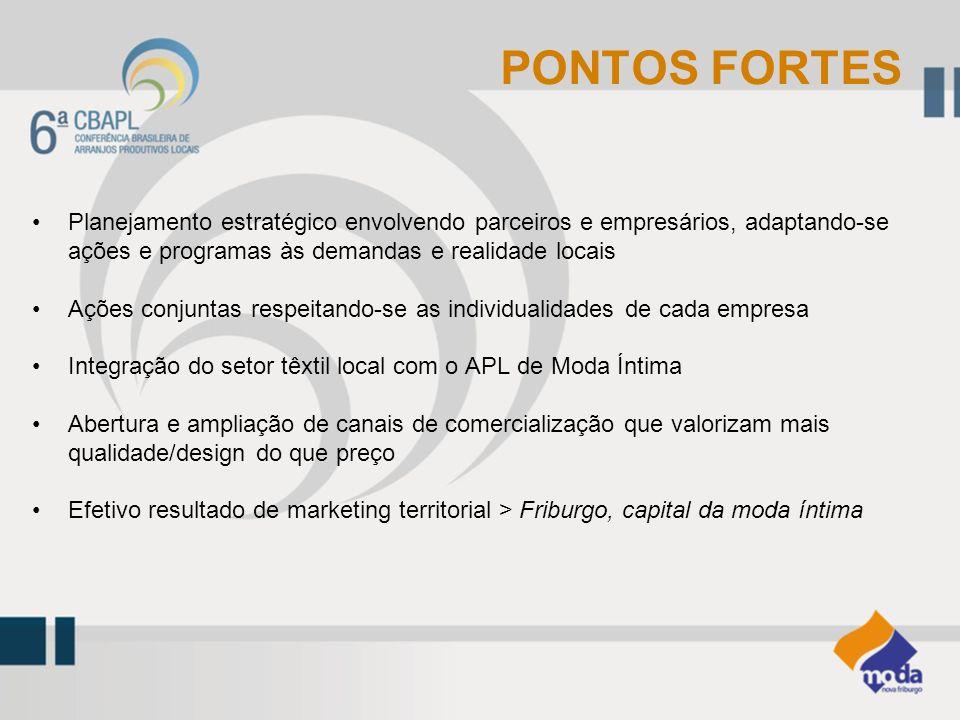 PONTOS FORTES Planejamento estratégico envolvendo parceiros e empresários, adaptando-se ações e programas às demandas e realidade locais.