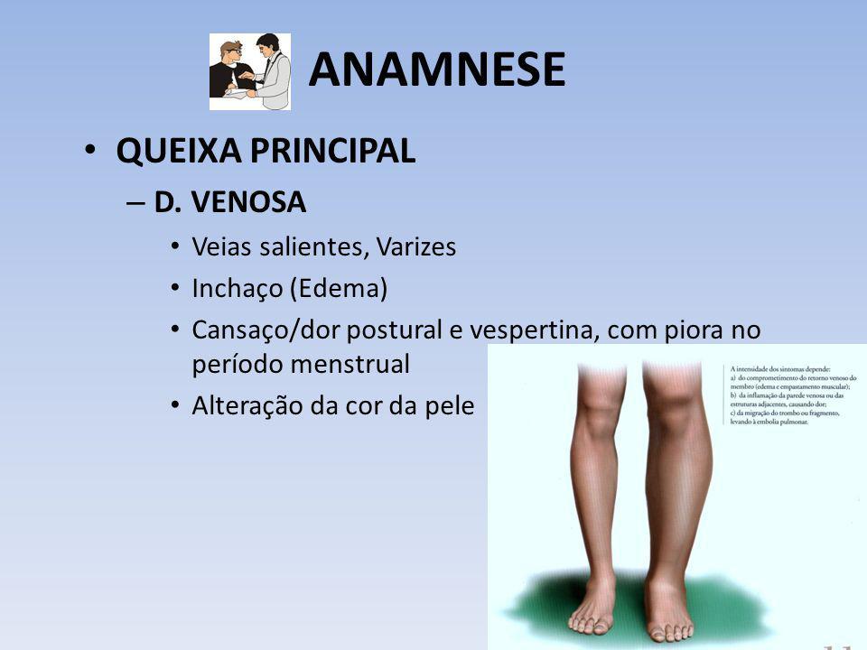 ANAMNESE QUEIXA PRINCIPAL D. VENOSA Veias salientes, Varizes