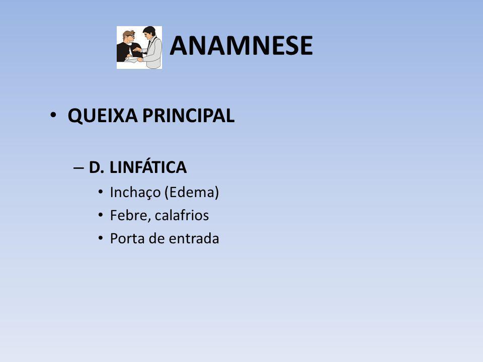 ANAMNESE QUEIXA PRINCIPAL D. LINFÁTICA Inchaço (Edema)
