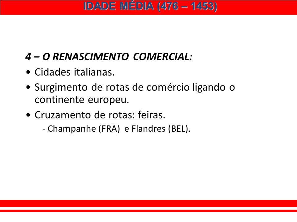 4 – O RENASCIMENTO COMERCIAL: Cidades italianas.