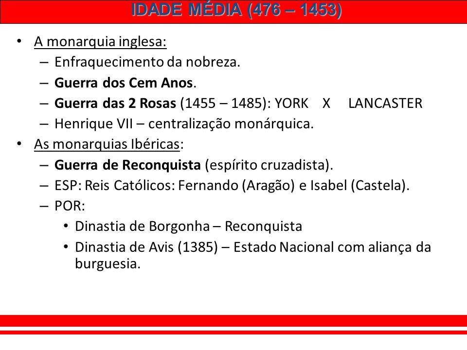 A monarquia inglesa: Enfraquecimento da nobreza. Guerra dos Cem Anos. Guerra das 2 Rosas (1455 – 1485): YORK X LANCASTER.