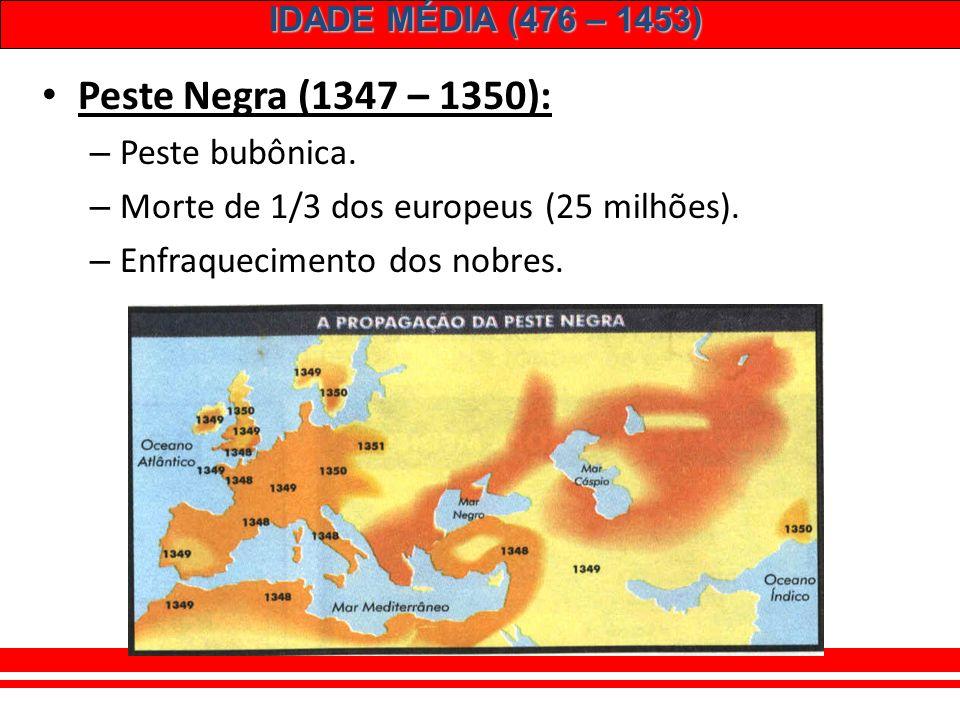 Peste Negra (1347 – 1350): Peste bubônica.