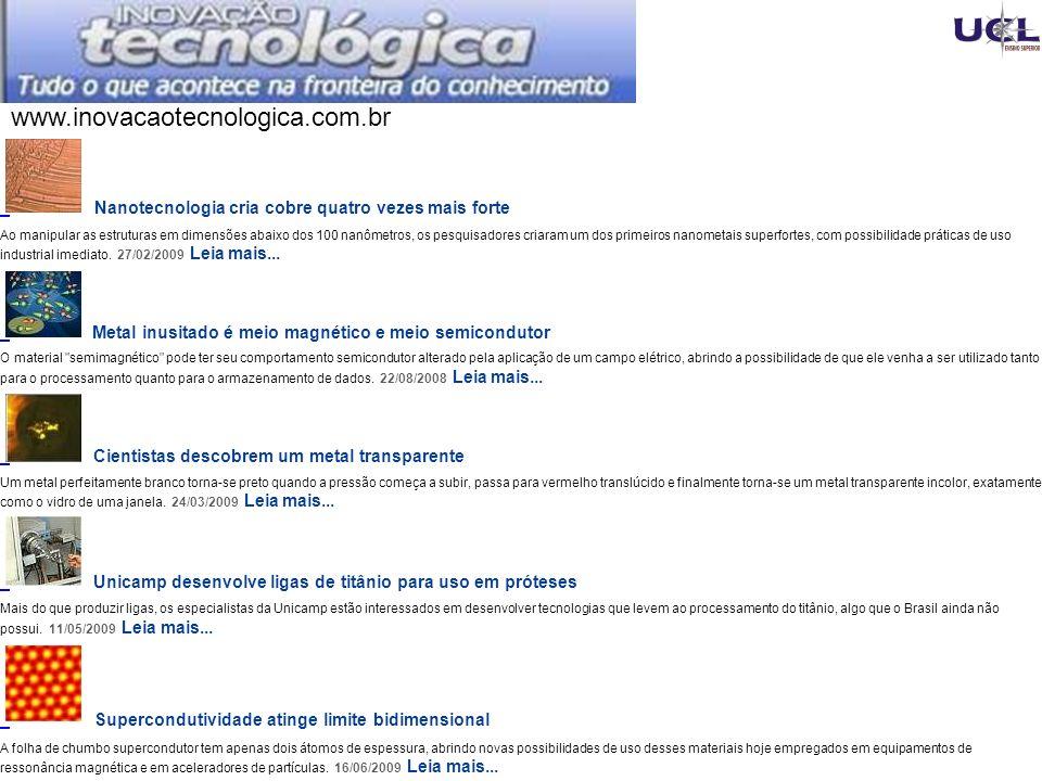 www.inovacaotecnologica.com.br Nanotecnologia cria cobre quatro vezes mais forte.