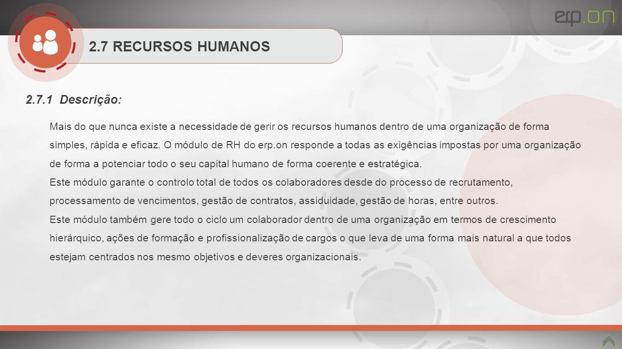 2.7 RECURSOS HUMANOS 2.7.1 Descrição: