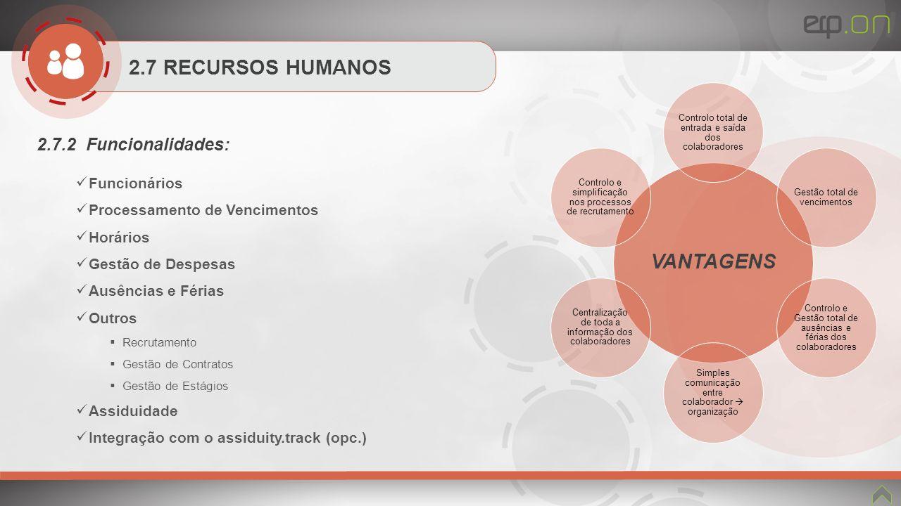 VANTAGENS 2.7 RECURSOS HUMANOS 2.7.2 Funcionalidades: Funcionários