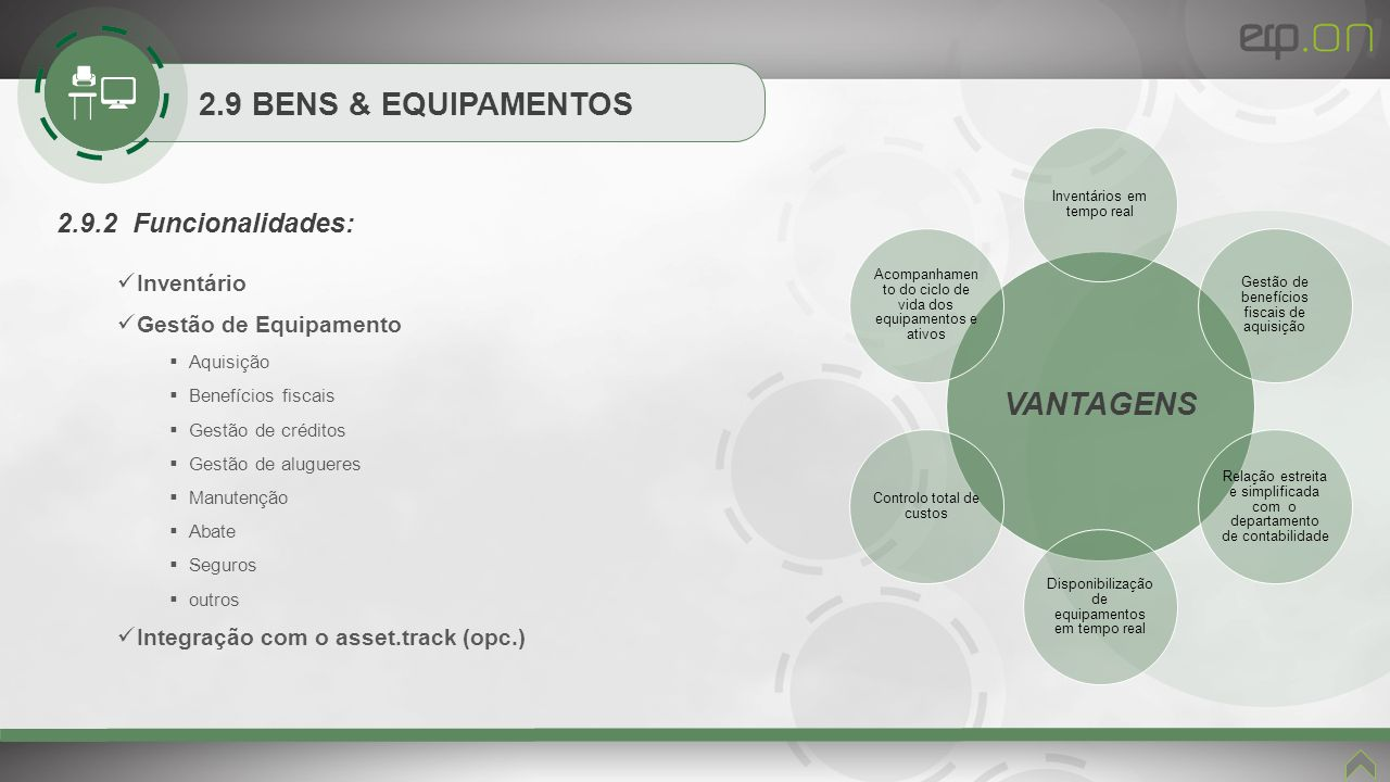 VANTAGENS 2.9 BENS & EQUIPAMENTOS 2.9.2 Funcionalidades: Inventário