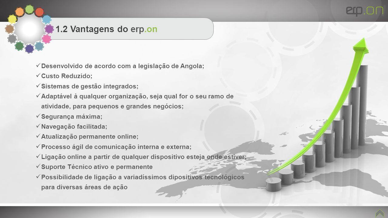 1.2 Vantagens do erp.on Desenvolvido de acordo com a legislação de Angola; Custo Reduzido; Sistemas de gestão integrados;