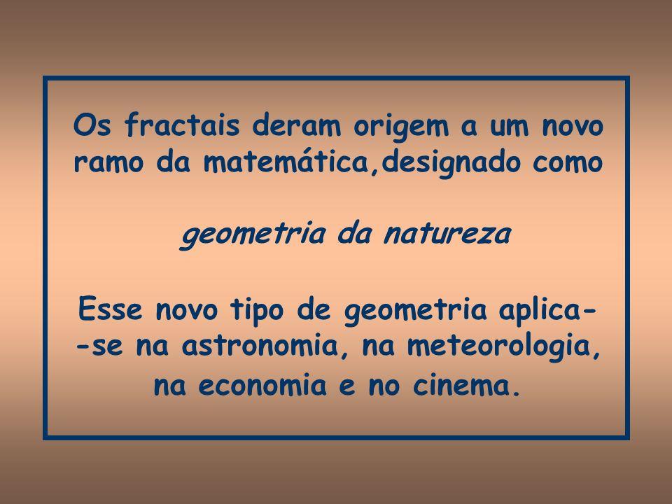 Os fractais deram origem a um novo ramo da matemática,designado como geometria da natureza Esse novo tipo de geometria aplica--se na astronomia, na meteorologia, na economia e no cinema.