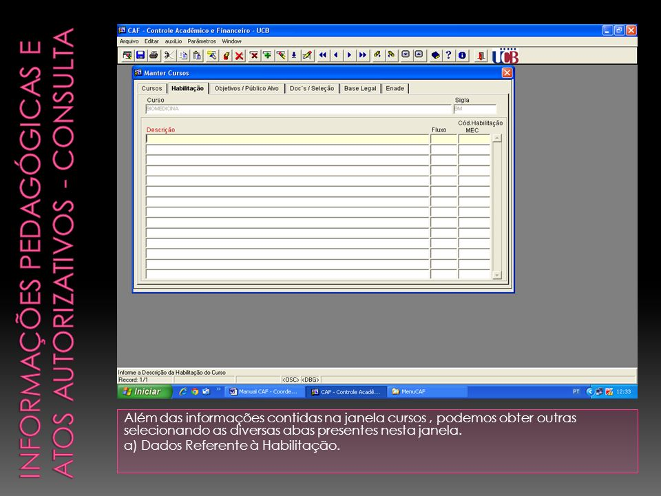 Informações pedagógicas e Atos Autorizativos - Consulta