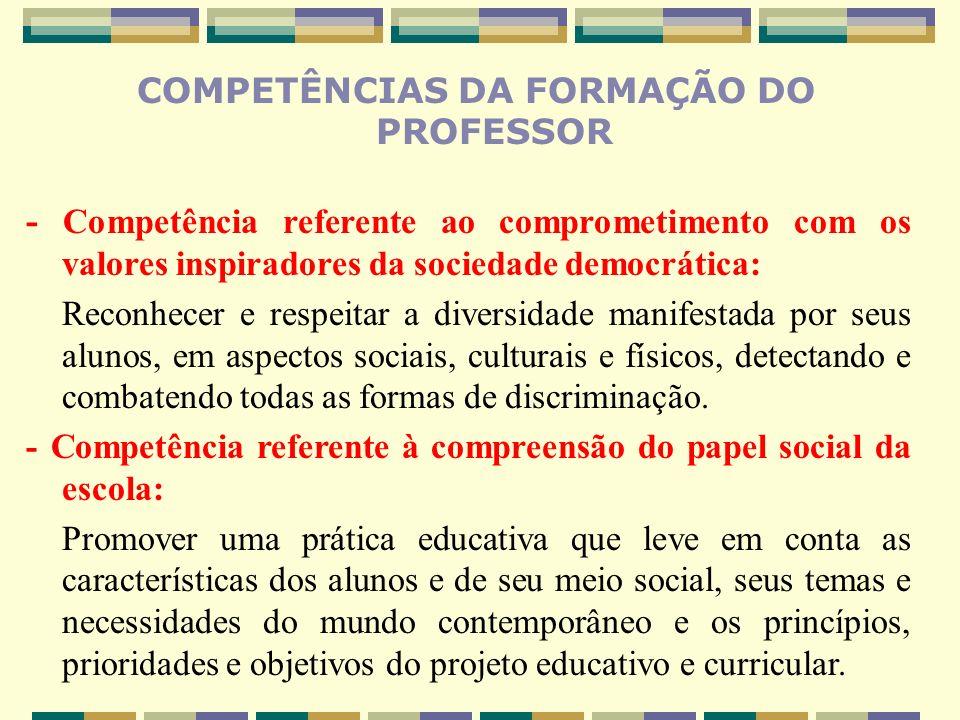 COMPETÊNCIAS DA FORMAÇÃO DO PROFESSOR