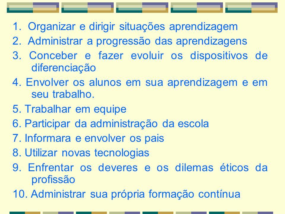 1. Organizar e dirigir situações aprendizagem